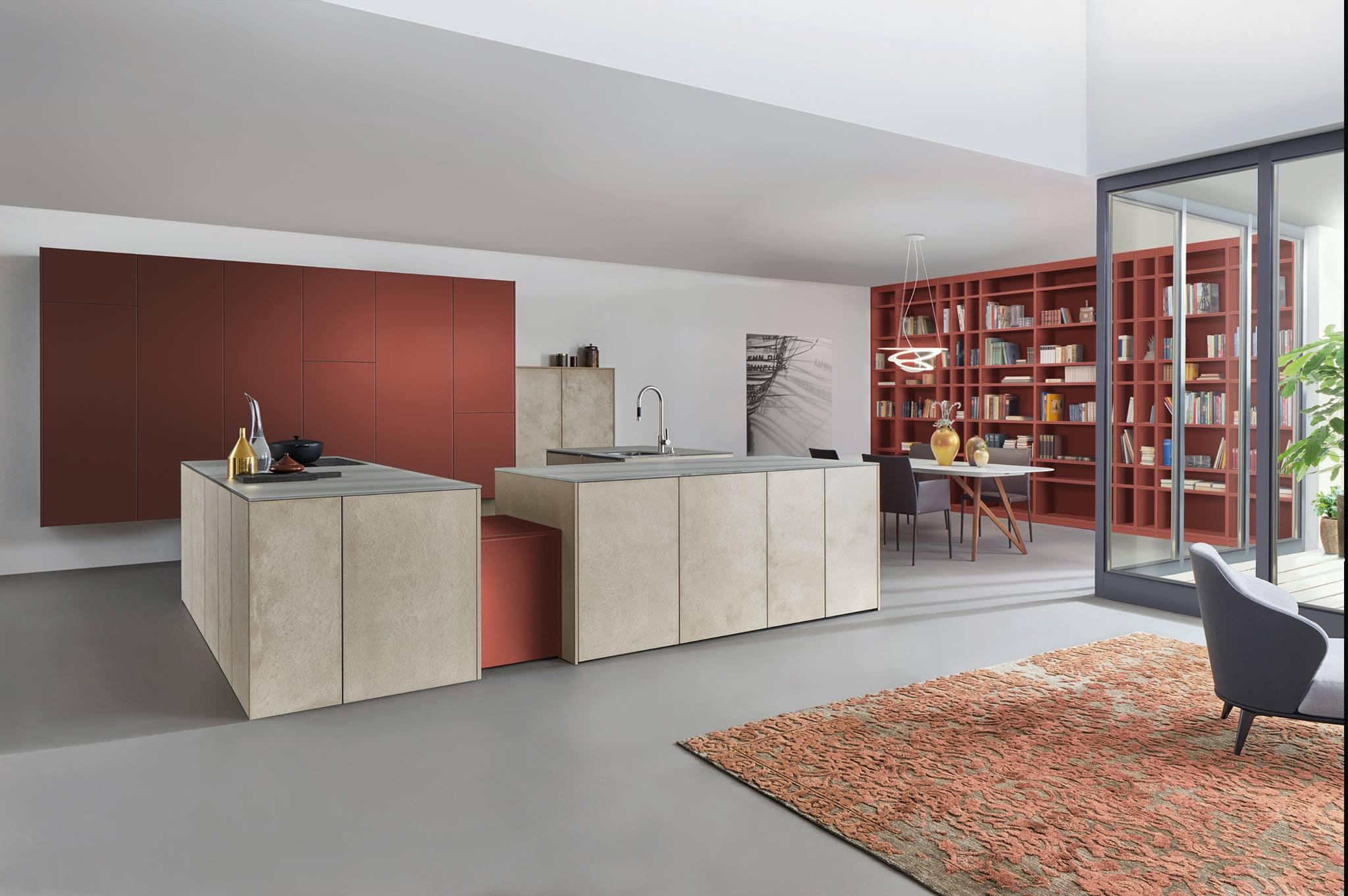 Cuisine Leicht sans poignées, lignes épurées pour le modèle TOPOS associé à une couleur Le Corbusier exclusivement chez les Cuisines Leicht