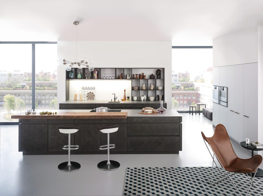 Cuisine Leicht sans poignées, façades béton, programme Concrete