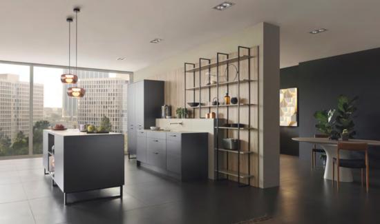 Nouveauté Leicht 2020 façade Metea avec étagères Fios cuisines Leicht Wels Décoration Antibes